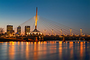 Esplanade Bridge over the Red River at sunset<br />Winnipeg<br />Manitoba<br />Canada