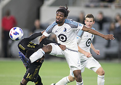 May 9, 2018 - Los Angeles, California, U.S - Mark-Anthony Kaye #14 of the LAFC battles for the ball with Carter Manley #2 of the Minnesota United FC on Wednesday May 9, 2018, at the Banc of California Stadium in Los Angeles, California. LAFC defeats Minnesota United FC, 2-0. (Credit Image: © Prensa Internacional via ZUMA Wire)