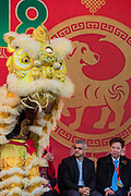 Sadiq Khan, Mayor of London, on stage with CT Tang, OBE, and other Chinese Dignitaries as the Lion Dance begins - Chinese New Year Celebrations in London 2018 marking the arrival of the Year of the Dog. The Event started with a Grand Parade from the North East side of the Trafalgar Square and finishing in Chinatown at Shaftesbury Avenue. It was organised by London Chinatown Chinese Association and is supported by The Mayor of London and Westminster City Council.