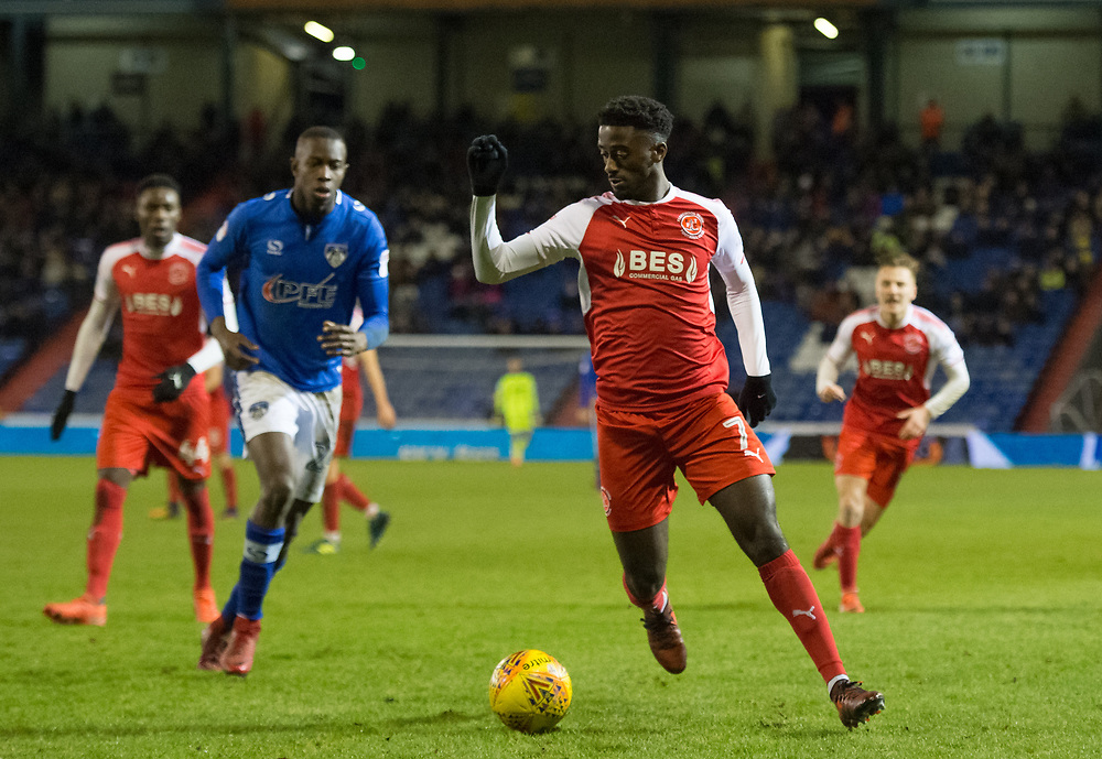 Fleetwood's Jordy Hiwula<br /> <br /> Photographer Jon Hobley/CameraSport<br /> <br /> The EFL Sky Bet League One - Oldham Athletic v Fleetwood Town - Tuesday 26th December 2017 - Boundary Park - Oldham<br /> <br /> World Copyright © 2017 CameraSport. All rights reserved. 43 Linden Ave. Countesthorpe. Leicester. England. LE8 5PG - Tel: +44 (0) 116 277 4147 - admin@camerasport.com - www.camerasport.com