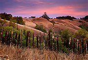 Autumn Sunset along a Northern California country road in Sonoma County.