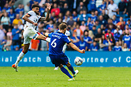 Bournemouth midfielder Philip Billing  (29) tries to block the cross of Cardiff City defender Will Vaulks  (6) during the EFL Sky Bet Championship match between Cardiff City and Bournemouth at the Cardiff City Stadium, Cardiff, Wales on 18 September 2021.