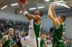Jimmy Baxter of Krka vs Dino Muric of Union Olimpija during basketball match between KK Krka and Union Olimpija Ljubljana of Round 7th of ABA League 2011/2012, on November 12, 2011 in Arena Leon Stukelj, Novo mesto, Slovenia. (Photo By Vid Ponikvar / Sportida.com)