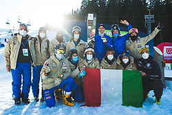 Roland Fischnaller (ITA) with team Italy during parallel giant slalom FIS Snowboard Alpine world championships 2021 on 1st of March 2021 on Rogla, Slovenia, Slovenia. Photo by Grega Valancic / Sportida