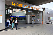New London Overground train line in East London. This is the replacement for the old East London underground line. It opened in May 2010. Shoreditch High Street station.