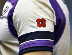 A poppy on the sleeve of the Scotland shirt during the Autumn International at BT Murrayfield, Edinburgh.