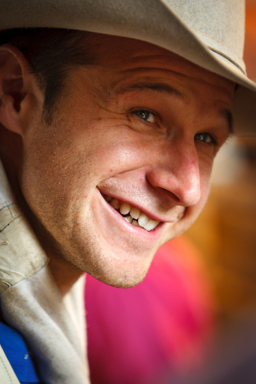 Bareback Riding champion CLINT CANNON prepares for his ride at the Cheyenne Frontier Days Rodeo