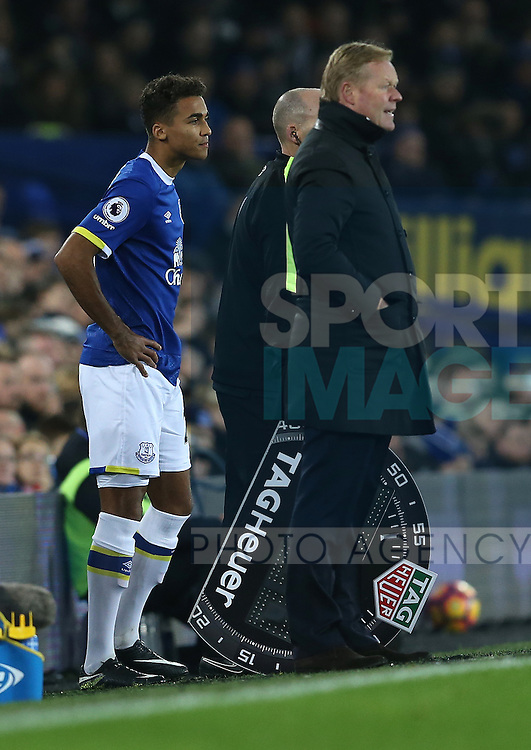 Dominic Calvert-Lewin of Everton waits to come on during the English Premier League match at Goodison Park Stadium, Liverpool. Picture date: December 13th, 2016. Pic Simon Bellis/Sportimage