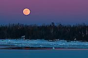 Moon rising over Lake Huron<br /> South Baymouth. Manitoulin Island<br /> Ontario<br /> Canada
