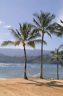 The public beach at the Princeville Resort, Kauai, Hawaii