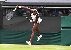 July 1, 2019 - London, ENG, U.S. - LONDON, ENGLAND - JULY 01: Fifteen year old school girl, Cori Gauff (USA) in action defeating 39 year old, 5 time Wimbledon Champion, Venus Williams (USA) during The Championships, Wimbledon, on July 1, 2019, at the All England Lawn Tennis and Croquet Club in London, England. (Photo by Cynthia Lum/Icon Sportswire) (Credit Image: © Cynthia Lum/Icon SMI via ZUMA Press)