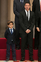 Diego Pablo Simeone (R) and Alejandro Rodriguez during the 2013 Sports National Awards ceremony at El Pardo palace in Madrid, Spain. December 03, 2014. (ALTERPHOTOS/Victor Blanco)