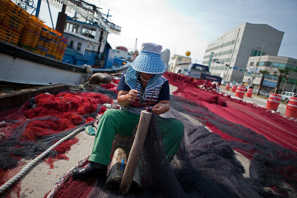 Korean fisherwoman repairing fishing net in Pohang harbor / South Korea, Republic of Korea, KOR, 04 October 2009.