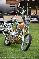 BF11 Invited builder Joey Kerivan's custom 1947 Harley-Davidson Knucklehead chopper at the Born Free set-up day before the big show. Oak Canyon Ranch, Silverado, CA, USA. Friday, June 21, 2019. Photography ©2019 Michael Lichter.CA, USA.