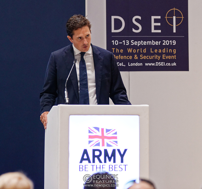London, United Kingdom - 12 September 2019<br /> Johnny Mercer MP, Parliamentary Under-Secretary of State for Defence People and Veterans for the UK Government gives a keynote address speech and answers questions from the audience at DSEI 2019 security, defence and arms fair at ExCeL London exhibition centre.<br /> (photo by: EQUINOXFEATURES.COM)<br /> Picture Data:<br /> Photographer: Equinox Features<br /> Copyright: ©2019 Equinox Licensing Ltd. +443700 780000<br /> Contact: Equinox Features<br /> Date Taken: 20190912<br /> Time Taken: 10131386<br /> www.newspics.com