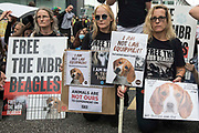 Animal rights activists from Camp Beagle take part in a National Animal Rights March on 28th August 2021 in London, United Kingdom. Camp Beagle is calling for the release of beagle dogs reared for animal research from MBR Acres in Huntingdon. Animal Rebellion, an offshoot of Extinction Rebellion, organised the march for the sixth day of Extinction Rebellions Impossible Rebellion protests in London.