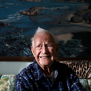 George Snyder, Jr., a 97-year-oldWorld War II veteran, poses for a portrait at his Michigan Avenue home in Maumee, Ohio, on Thursday, Jan. 2, 2020.Snyder survived combat and capture while serving in the Army in the 337th Infantry Regiment, 85th Infantry Division, Company G, in Italy. THE BLADE/KURT STEISS