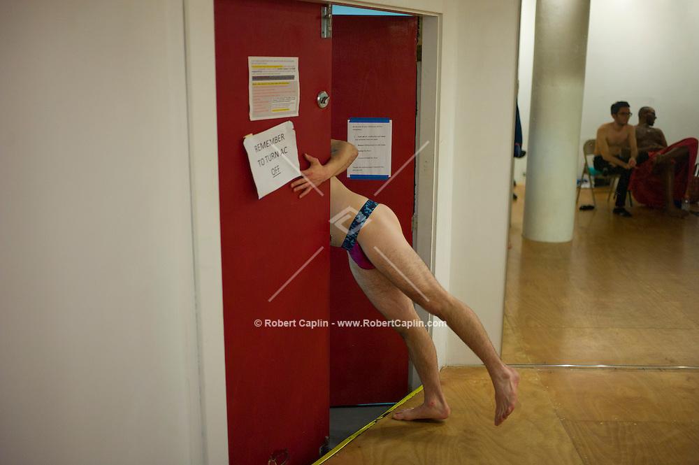 "Chris Harder teaches his ""Boylesque"" Class, Burlesque dancing for men, at Triskelion Arts Center in Williamsburg, Brooklyn...Photo © Robert Caplin.."