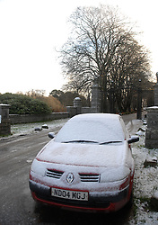 © under license to London News Pictures. 24/11/10. A snow-covered car on Wednesday 24th November 2010 in Aberdeenshire, Scotland. The Met Office issued severe weather warning for snow across the UK. Photo credit should read Scott Campbell/London News Pictures