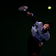 2019 US Open Tennis Tournament- Day Six.  Hyeon Chung of Korea serving against Rafael Nadal of Spain in the Men's Singles round three match on Arthur Ashe Stadium during the 2019 US Open Tennis Tournament at the USTA Billie Jean King National Tennis Center on August 31st, 2019 in Flushing, Queens, New York City.  (Photo by Tim Clayton/Corbis via Getty Images)