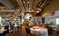 """Interior of restaurant in """"Good Wine"""" gourmet supermarket in Kyiv, Ukraine."""
