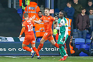 Goal Luton Town forward James Collins (19) scores a goal and celebrates during the EFL Sky Bet League 1 match between Luton Town and Plymouth Argyle at Kenilworth Road, Luton, England on 17 November 2018.