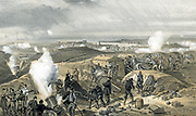 Crimean War 1853-18566: Siege of Sebastopol, October 1854 to September 1855. 'A Hot Day in the Batteries', scene in one of the Allies' batteries besieging the town, showing 13 inch and 10 inch mortars and siege-train guns from Naval Brigade. Tinted lithograph after W Simpson, 1855