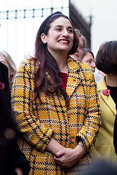 © Licensed to London News Pictures. 04/11/2019. London, UK. Luciana Berger MP stands in support before Leader of the Liberal Democrats Jo Swinson speaks to media about not being included in the televised leaders debate. A general election will be held on 12 December 2019. Photo credit : Tom Nicholson/LNP