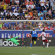 Bradley Wright-Phillips, New York Red Bulls, scores from the penalty spot beating goalkeeper Jon Busch, San Jose Earthquakes, during the New York Red Bulls Vs San Jose Earthquakes, Major League Soccer regular season match at Red Bull Arena, Harrison, New Jersey. USA. 19th July 2014. Photo Tim Clayton