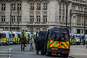 Heavy police deployment is concentrated across central London on Saturday, May 1, 20201 - ahead of dozens of marches and protests announced to oppose government among others in the police and crime sentencing bill. (Photo/ Vudi Xhymshiti)