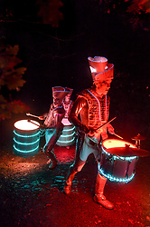 September 9, 2017 - Kendal, Cumbria, United Kingdom - Image ©Licensed to i-Images Picture Agency. 08/09/2017. Kendal, United Kingdom. Illuminated Drummers Spark dazzle at Lakes Alive Festival 2017.The three day arts festival centred around Kendal, Cumbria started with a spectacular show of colourful light and rhythm with the drumming of Spark.  Picture by Stuart Walker / i-Images (Credit Image: © Stuart Walker/i-Images via ZUMA Press)