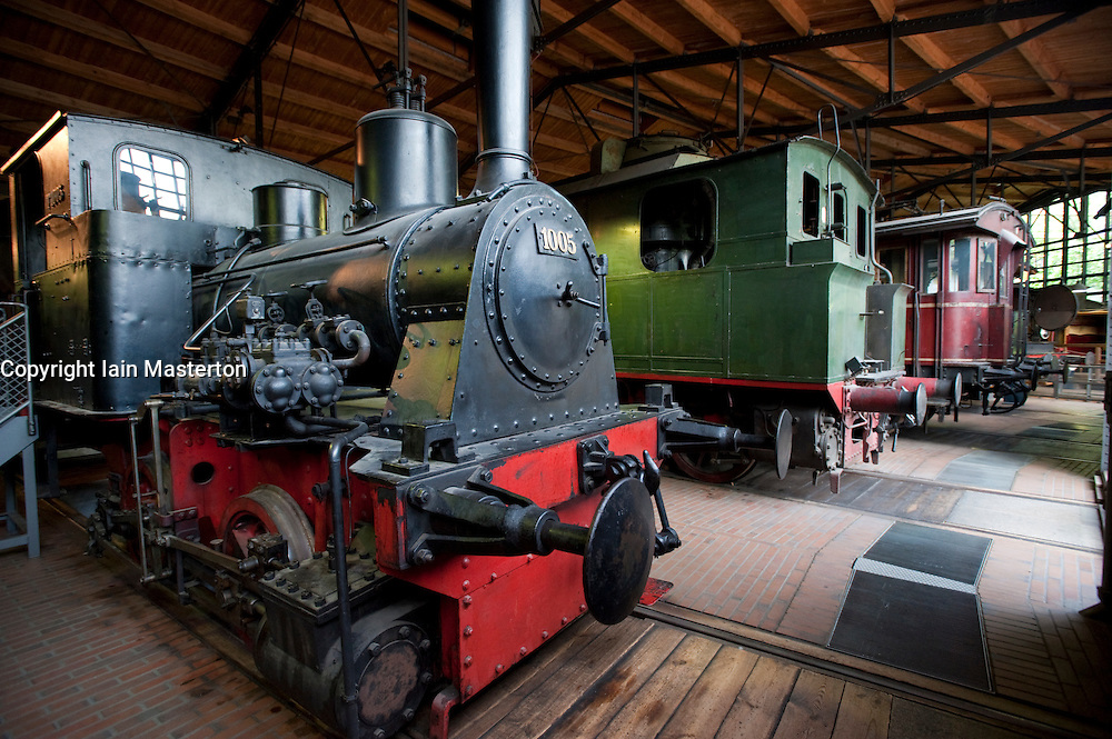Old steam locomotives and trains on display at Deutches Technikmuseum in Berlin Germany
