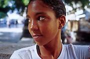 25 JULY 2002 - HAVANA, HAVANA, CUBA: A woman on the Prado, a main boulevard between the Capitolio and the Malecan in Havana, Cuba, July 25, 2002..PHOTO BY JACK KURTZ