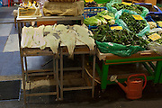 Fish and vegetables for sale in Xania Market, Crete, Greece