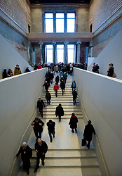 Photo of main stairway inside newly renovated Neues Museum in Berlin 2009 Architect David Chipperfield