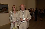 Mr. and Mrs. Greg Dyke, Edward Hopper, dinner, Tate Modern. 25 May 2004. ONE TIME USE ONLY - DO NOT ARCHIVE  © Copyright Photograph by Dafydd Jones 66 Stockwell Park Rd. London SW9 0DA Tel 020 7733 0108 www.dafjones.com