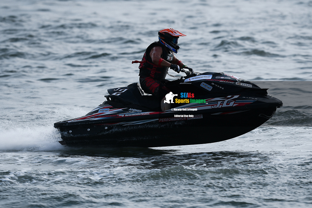 "PATTAYA, THAILAND - DECEMBER 09: Mitsuyuki ""Umichan"" Umibe (J2) of Japan and B Links Performance Marine by Thai Airways in action during the Pro Runabout GP Moto4 at the Thai Airways International Jet Ski World Cup 2018, Jomtien Beach, Pattaya, Thailand on December 09, 2018. <br /> .<br /> .<br /> .<br /> (Photo by: Naratip Golf Srisupab/SEALs Sports Images)<br /> .<br /> Any image use must include a mandatory credit line adjacent to the content which should read: Naratip Golf Srisupab/SEALs Sports Images"