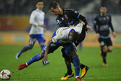 November 24, 2017 - Gent, Belgium - GENT, BELGIUM - NOVEMBER 24 : Mamadou Sylla forward of KAA Gent is fighting for the ball with Bruno Godeau defender of Royal Excel Mouscron during the Jupiler Pro League match between KAA Gent and Royal Excel Mouscron at the Ghelamco Arena on November 24, 2017 in Gent, Belgium, 24/11/2017 (Credit Image: © Panoramic via ZUMA Press)