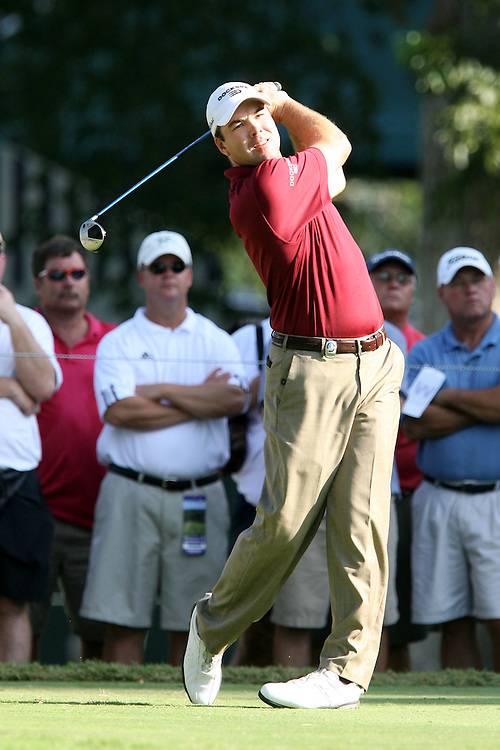 09 August 2007: Arron Oberholser tees off on the 4th hole during the first round of the 89th PGA Championship at Southern Hills Country Club in Tulsa, OK.