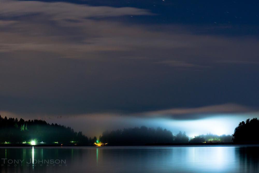 foggy evening under stars