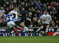 Photo: Lee Earle.<br /> Portsmouth v Tottenham Hotspur. The Barclays Premiership. 01/01/2007.Bednjani (L) scores Pompey's opening goal.