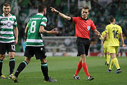 February 14, 2019 - Lisbon, Portugal - Clément Turpin, referee of the game in action during the Europa League 2018/2019 footballl match between Sporting CP vs Villarreal FC. (Credit Image: © David Martins/SOPA Images via ZUMA Wire)