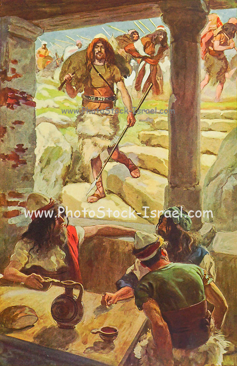DAVID RETURNS TO ACHISH. I Samuel xxvii. 9.<br /> And David smote the land, and left neither man nor woman alive, and took away the sheep, and the oxen, and the asses, and the camels, and the apparel, and returned, and came to Achish From the book ' The Old Testament : three hundred and ninety-six compositions illustrating the Old Testament ' Part II by J. James Tissot Published by M. de Brunoff in Paris, London and New York in 1904