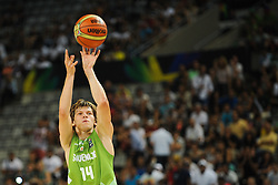 Jaka Klobucar of Slovenia during basketball match between National Teams of Slovenia and Dominican Republic in Eight-finals of FIBA Basketball World Cup Spain 2014, on September 6, 2014 in Palau Sant Jordi, Barcelona, Spain. Photo by Tom Luksys  / Sportida.com <br /> ONLY FOR Slovenia, France