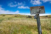 Trail sign on the Scorpion Canyon Loop Trail, Santa Cruz Island, Channel Islands National Park, California USA