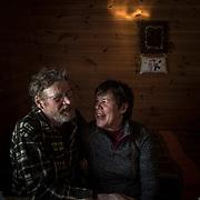 Gold mining couple Tauno Leino and Pirjo Kylä-Laaso in their cabin.