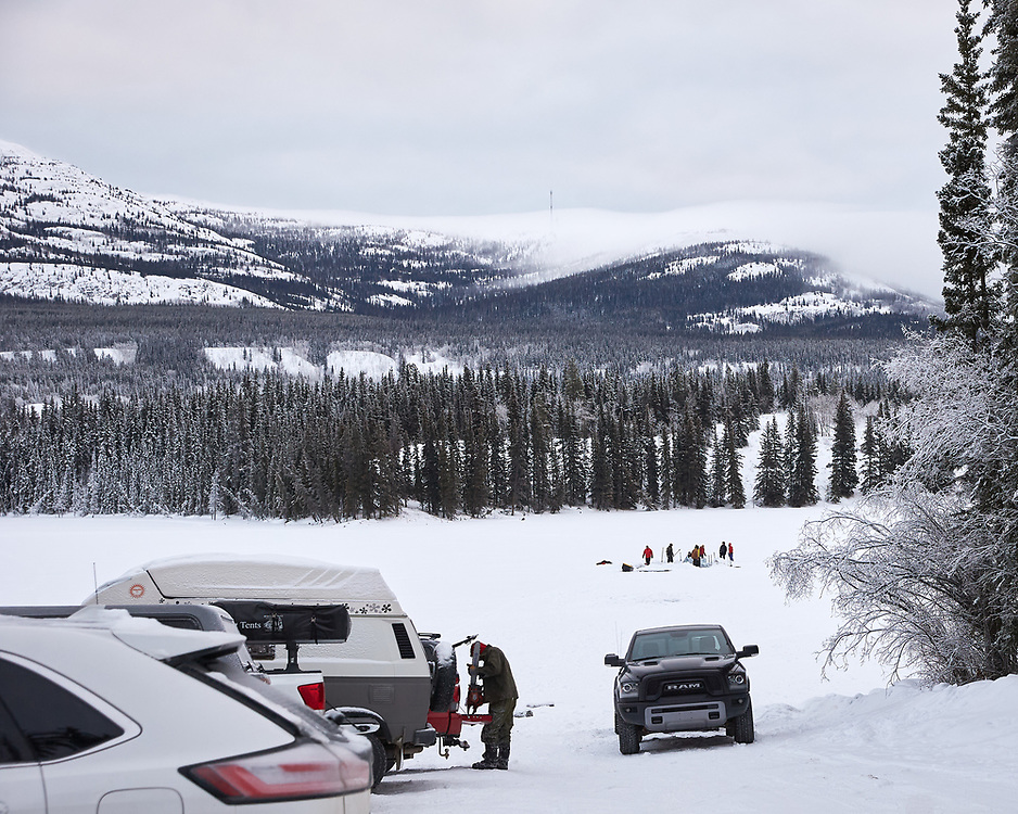 Yukon Ice Water Swimmers at Chadburn Lake to cut a new, larger swimming pool. The location of the new pool puts it an estimated 45 feet off the lake bottom.