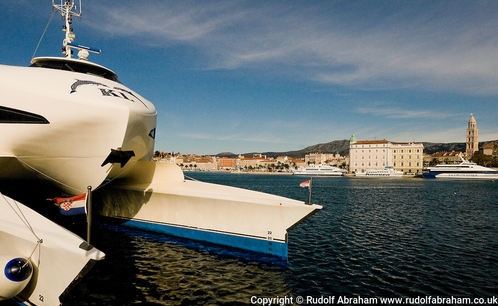 The catamaran for Hvar and Korcula, Diocletian's Palace in the background, Split, Croatia