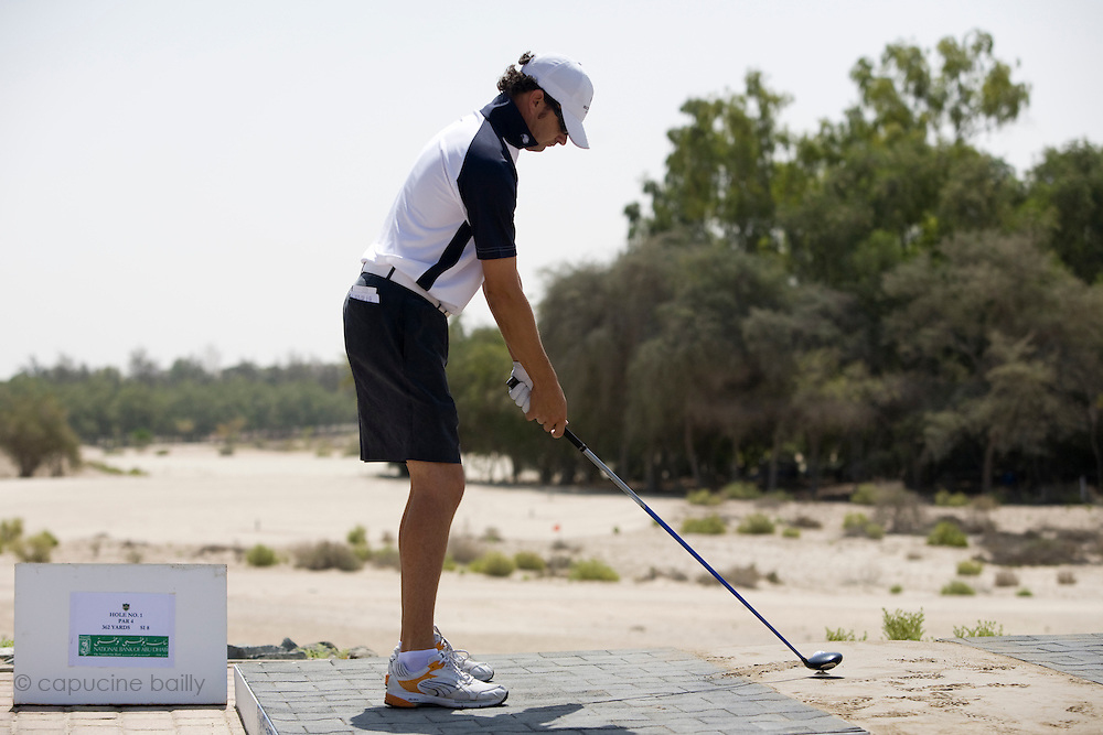 Abu Dhabi, United Arab Emirates (UAE). March 20th 2009.<br /> Al Ghazal Golf Club.<br /> 36th Abu Dhabi Men's Open Championship.<br /> Andrew Marshall at the 1st tee box