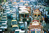 Pakistan, Karachi, 2004. Traffic nightmares in Karachi, Pakistan's commercial capital, main port, and busiest city.